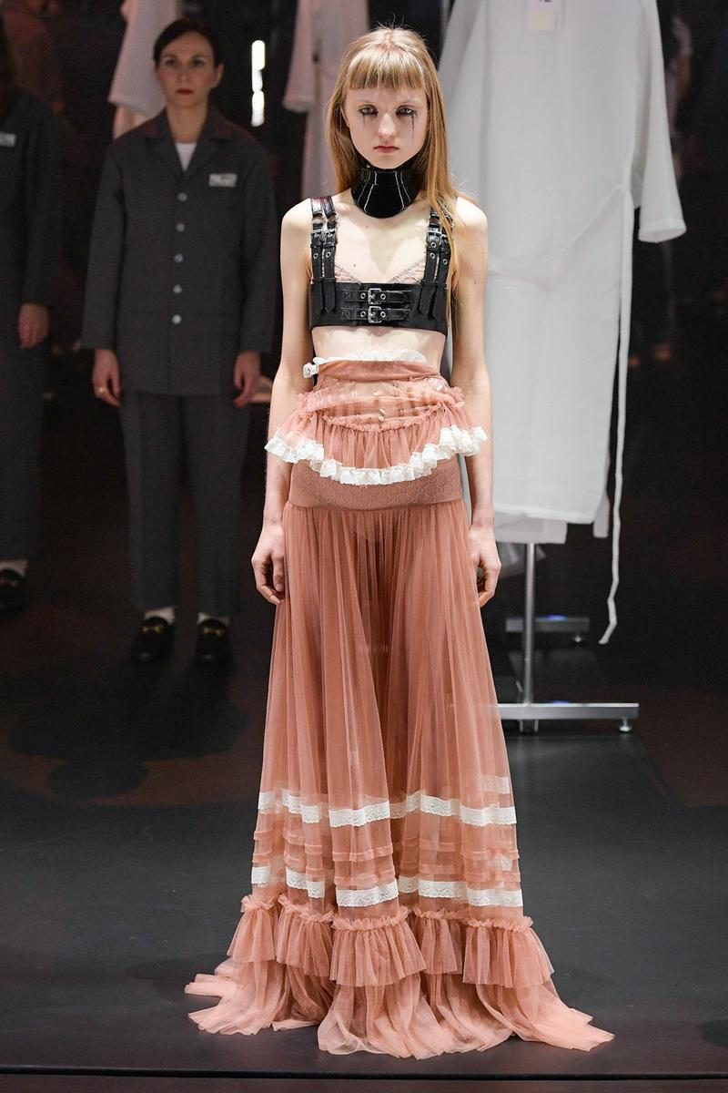 Gucci Fall/Winter 2020 Collection Runway Show Harness Black Skirt Lace Pink