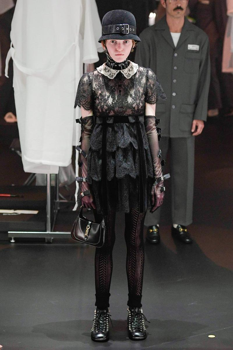 Gucci Fall/Winter 2020 Collection Runway Show Mini Dress Lace Black