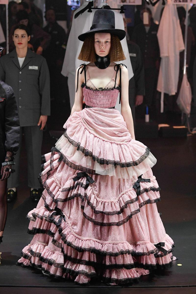 Gucci Fall/Winter 2020 Collection Runway Show Lace Gown Pink