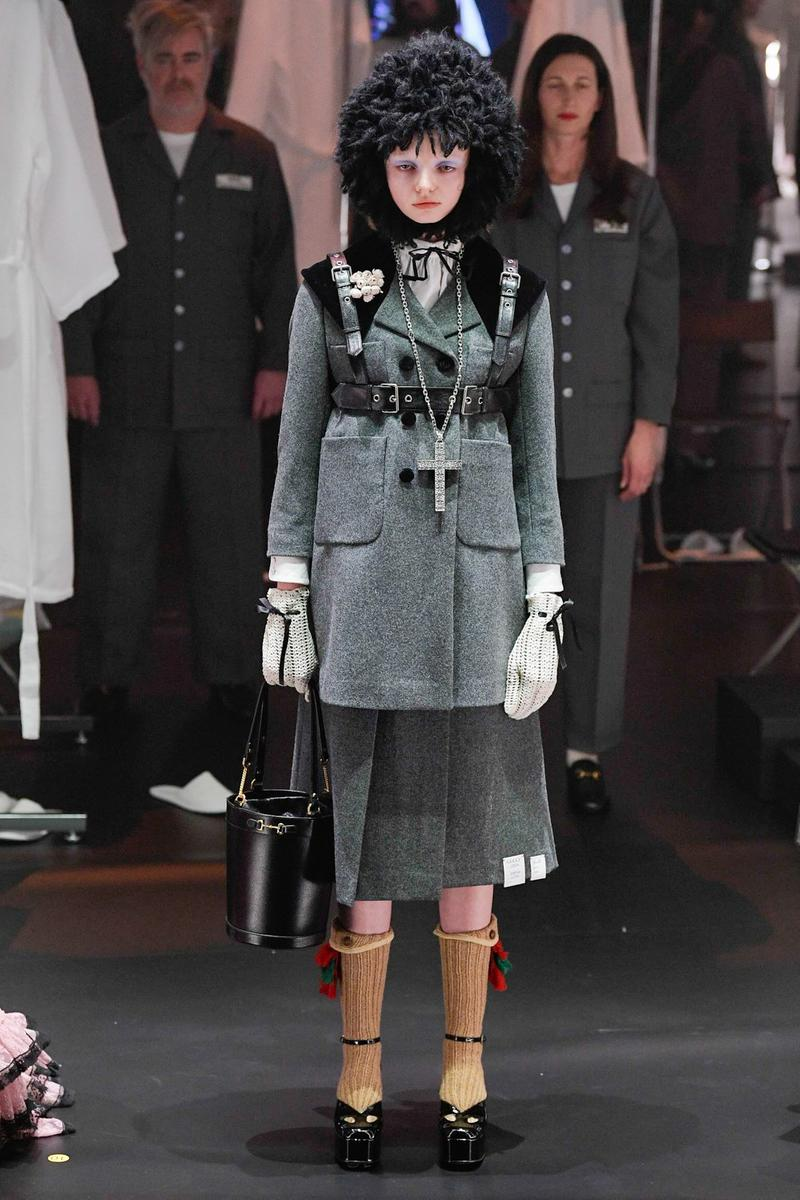 Gucci Fall/Winter 2020 Collection Runway Show Coat Grey Harness