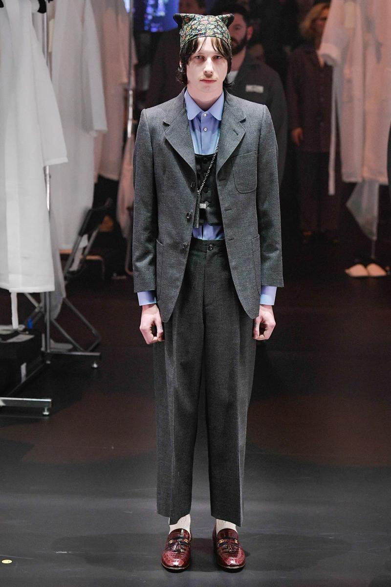 Gucci Fall/Winter 2020 Collection Runway Show Suit Grey