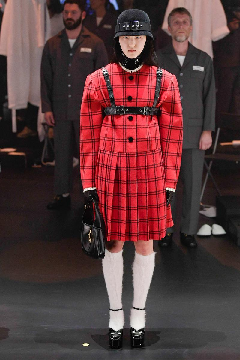 Gucci Fall/Winter 2020 Collection Runway Show Dress Plaid Red harness