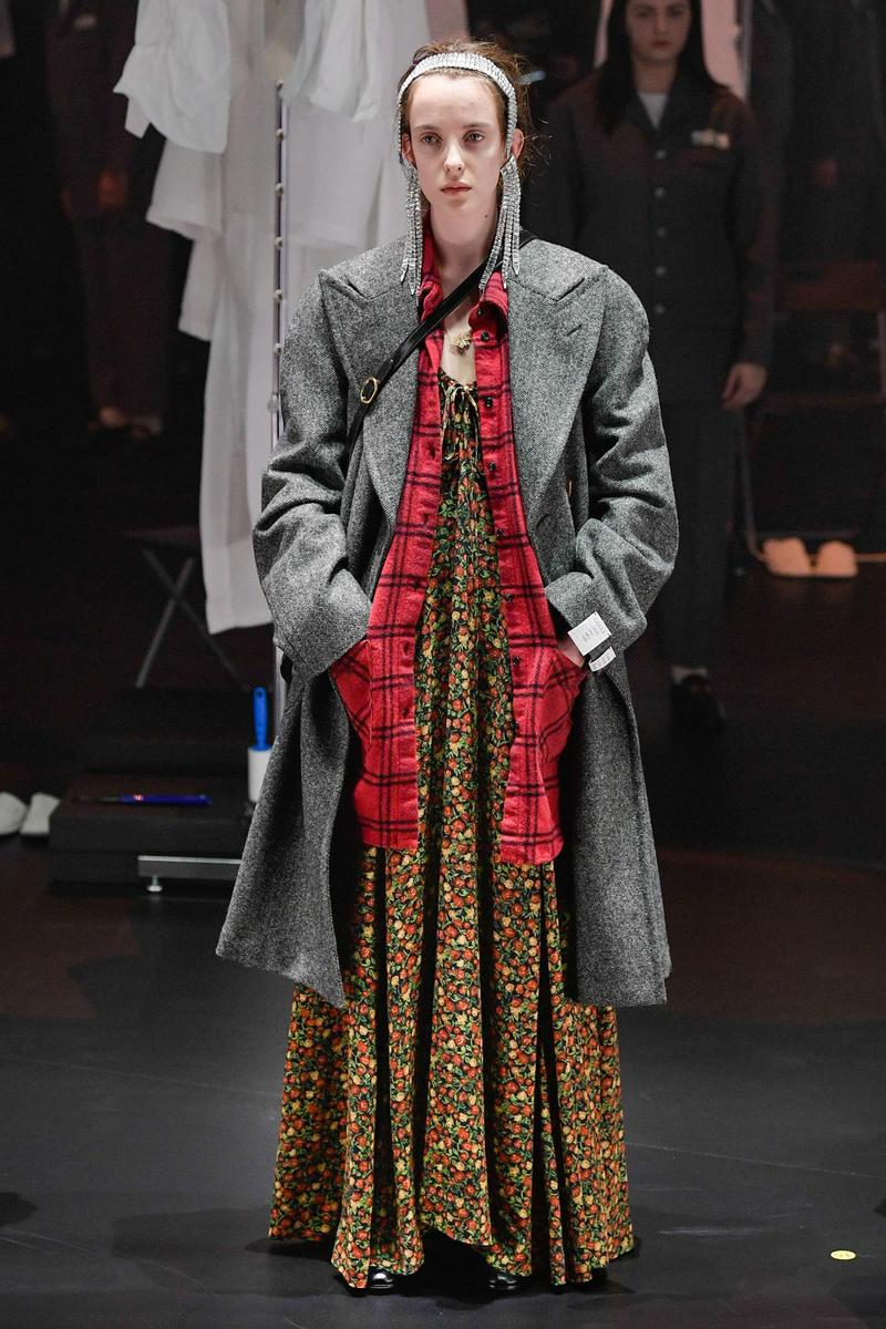 Gucci Fall/Winter 2020 Collection Runway Show Coat Grey Floral Dress