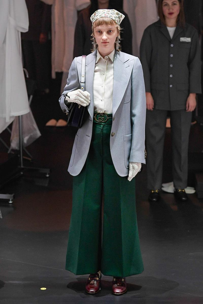 Gucci Fall/Winter 2020 Collection Runway Show Pants Green Jacket Blue