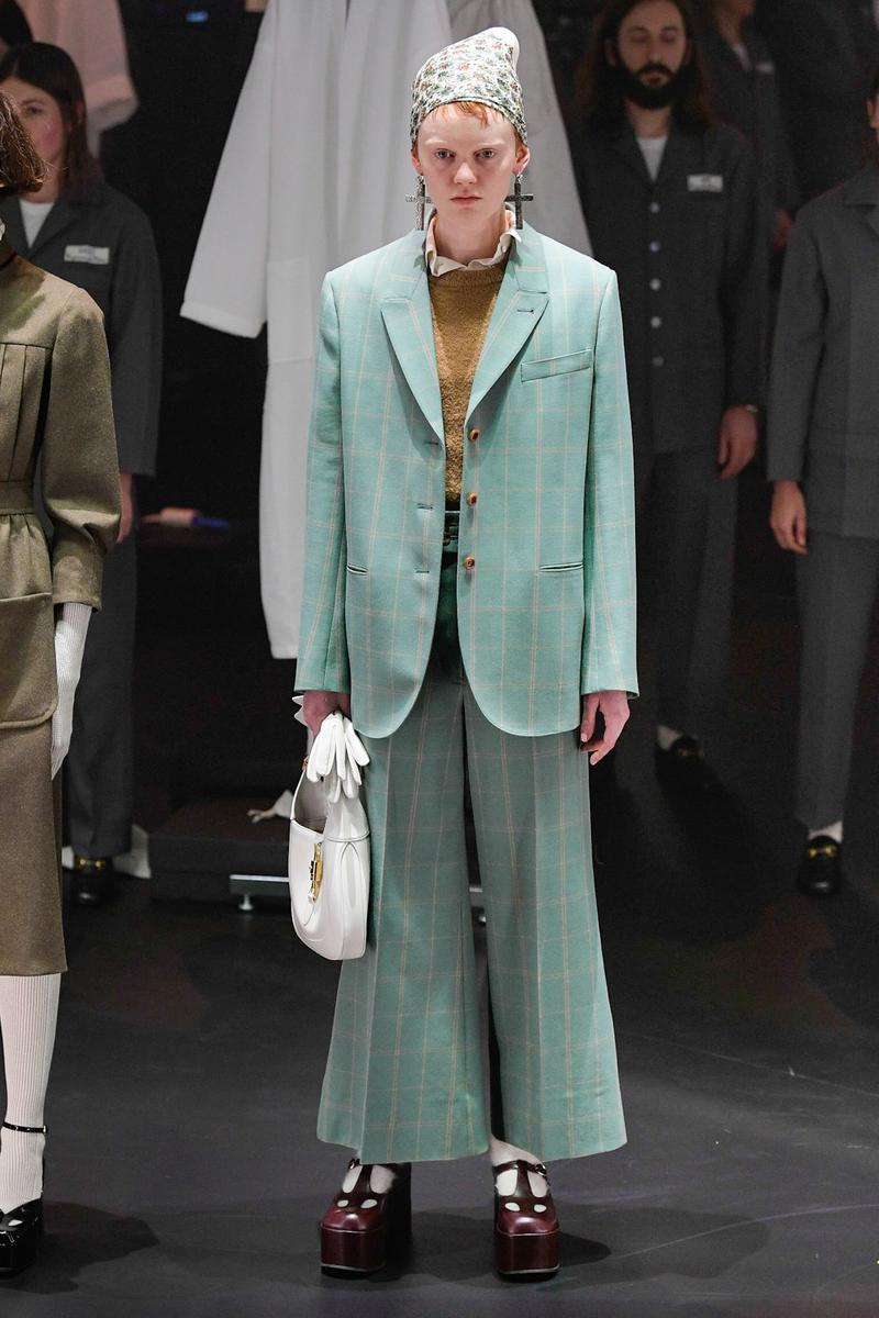 Gucci Fall/Winter 2020 Collection Runway Show Suit Green