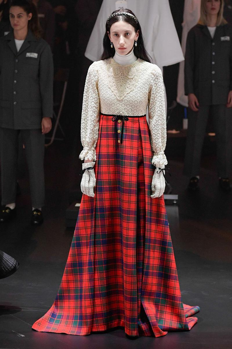 Gucci Fall/Winter 2020 Collection Runway Show Skirt Plaid Red