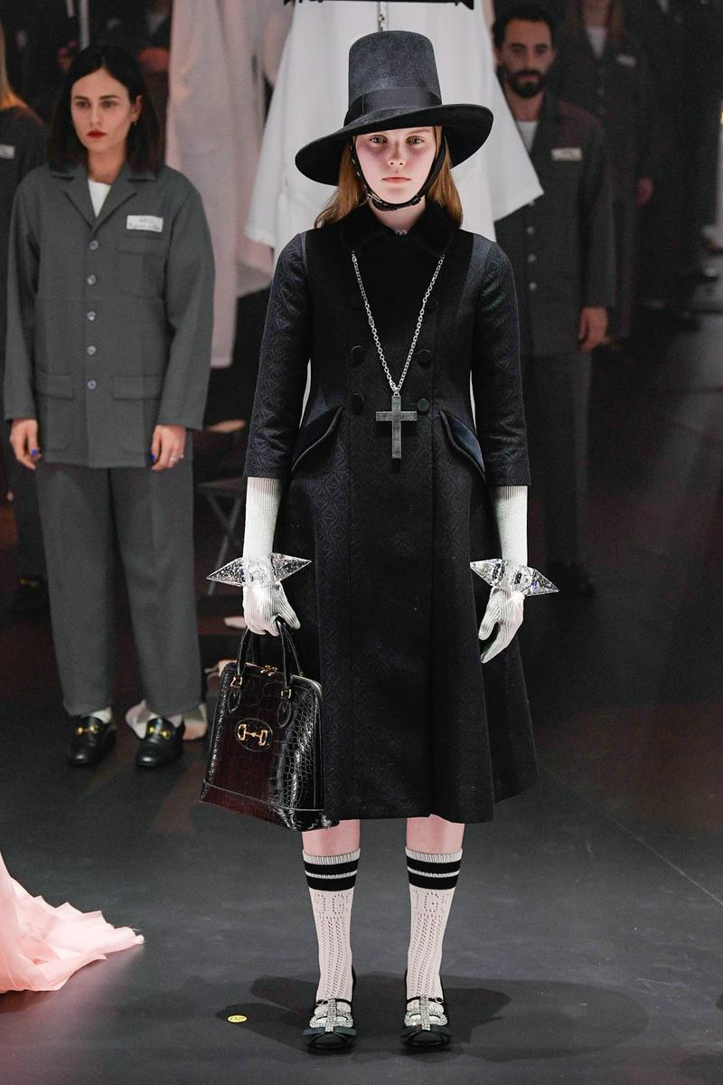 Gucci Fall/Winter 2020 Collection Runway Show Black Dress Cross