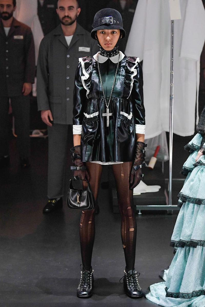 Gucci Fall/Winter 2020 Collection Runway Show Ruffle Dress Black