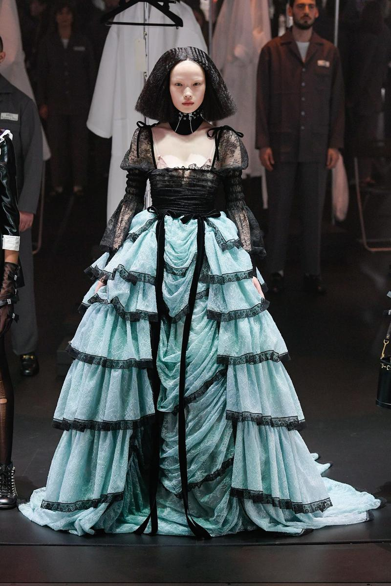 Gucci Fall/Winter 2020 Collection Runway Show Tiered Gown Lace Black Blue