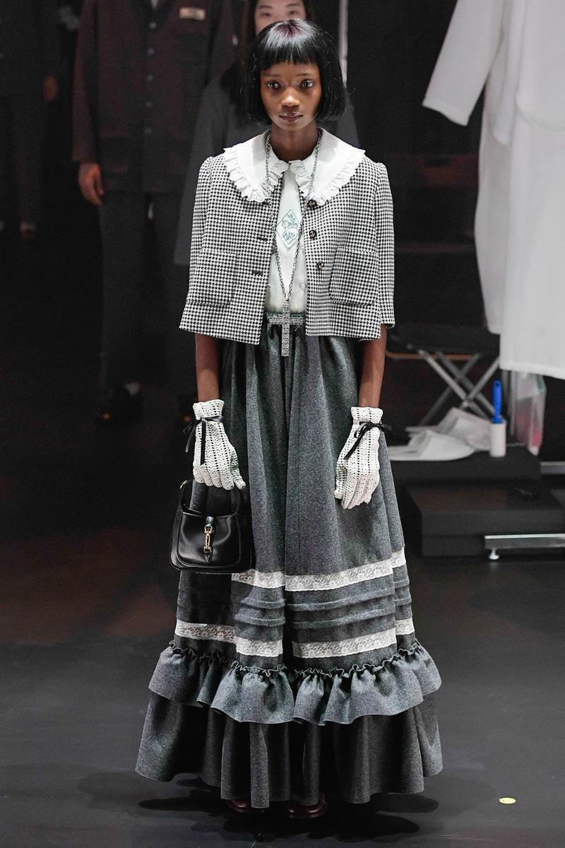 Gucci Fall/Winter 2020 Collection Runway Show Cape Skirt Grey