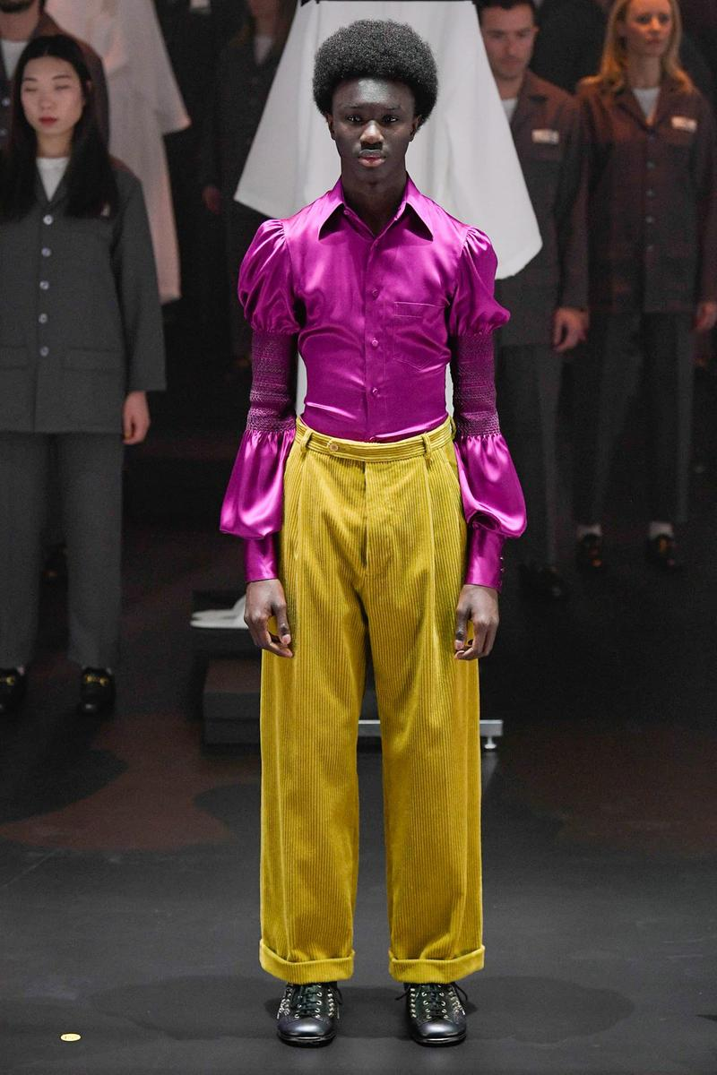 Gucci Fall/Winter 2020 Collection Runway Show Blouse Pink Pants Yellow