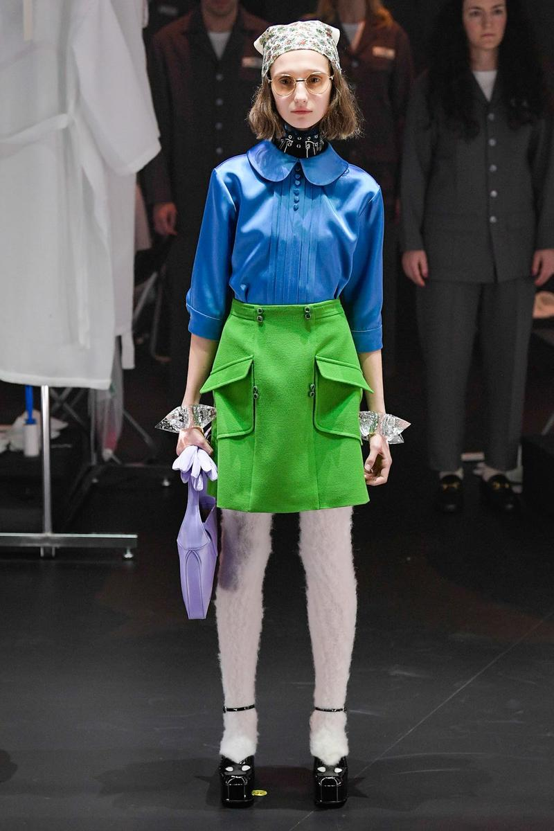 Gucci Fall/Winter 2020 Collection Runway Show Blouse Blue Skirt Green