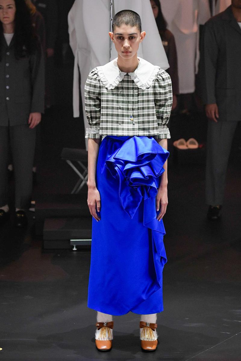 Gucci Fall/Winter 2020 Collection Runway Show Skirt Ruffled Blue