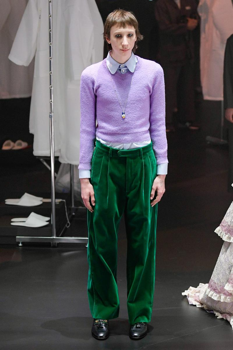 Gucci Fall/Winter 2020 Collection Runway Show Sweater Purple Velvet Pants Green