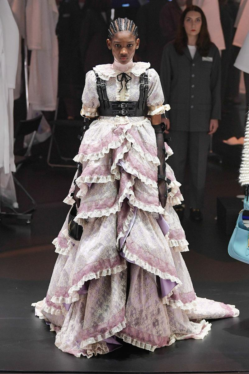 Gucci Fall/Winter 2020 Collection Runway Show Tiered Ruffle Gown Lace White Pink