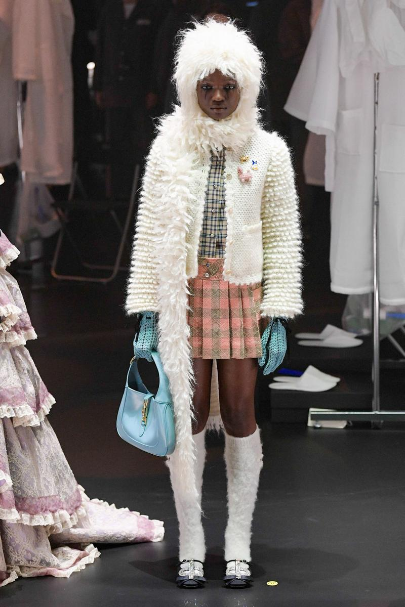 Gucci Fall/Winter 2020 Collection Runway Show Furry Scarf White Skirt Plaid
