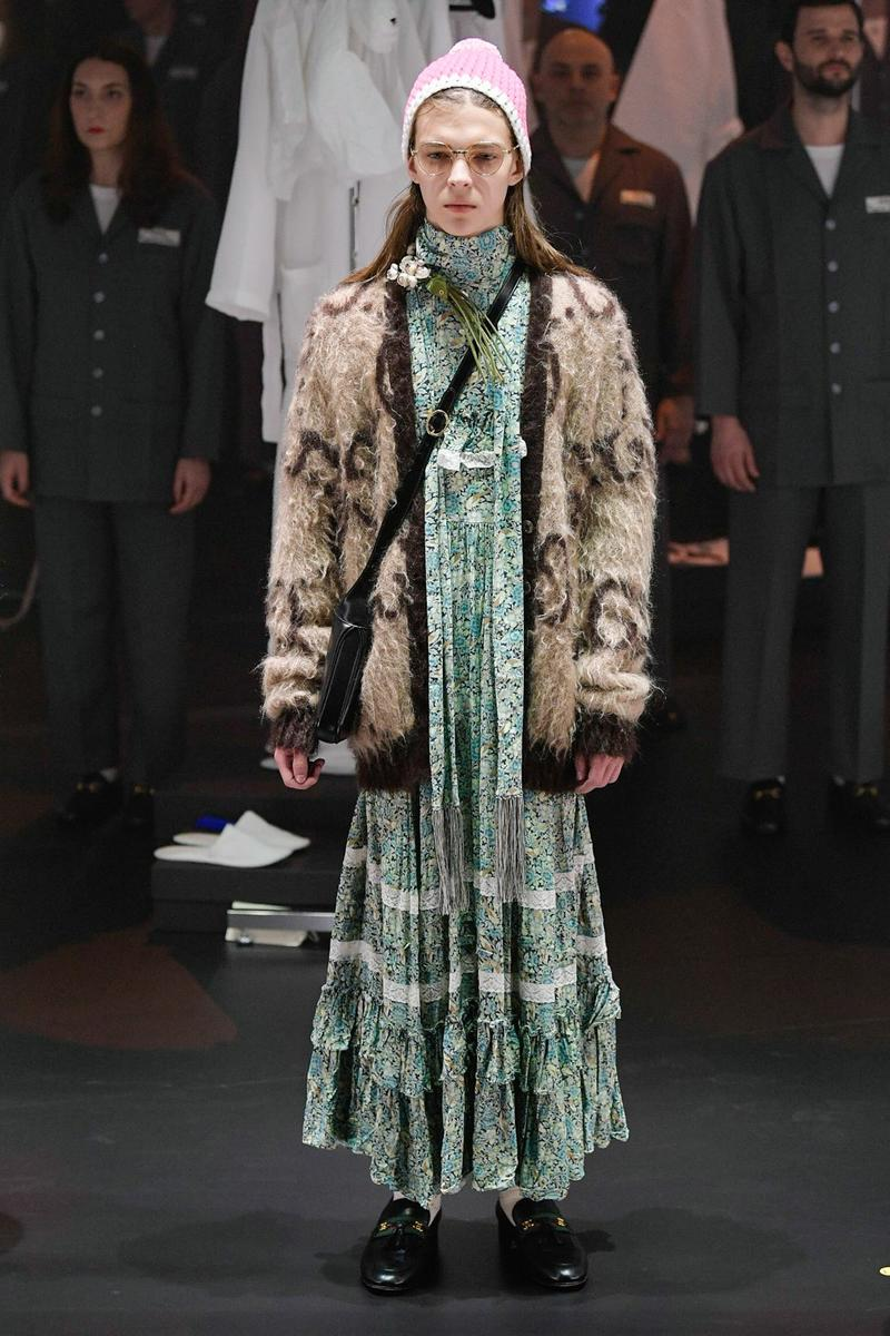 Gucci Fall/Winter 2020 Collection Runway Show Floral Dress Green Cardigan Brown