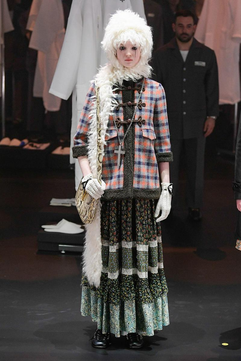 Gucci Fall/Winter 2020 Collection Runway Show Plaid Cardigan Floral Skirt