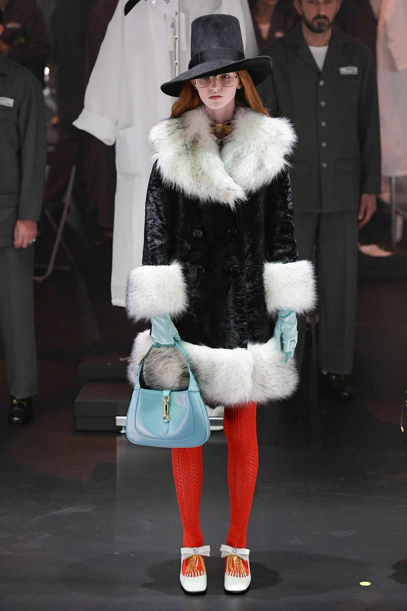 Gucci Fall/Winter 2020 Collection Runway Show Fur Trimmed Coat Black