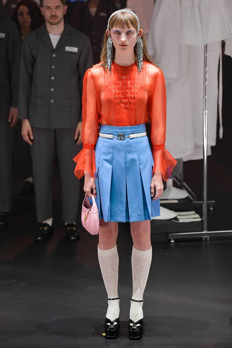 Gucci Fall/Winter 2020 Collection Runway Show Pleated Skirt Blue Sheer Top Red