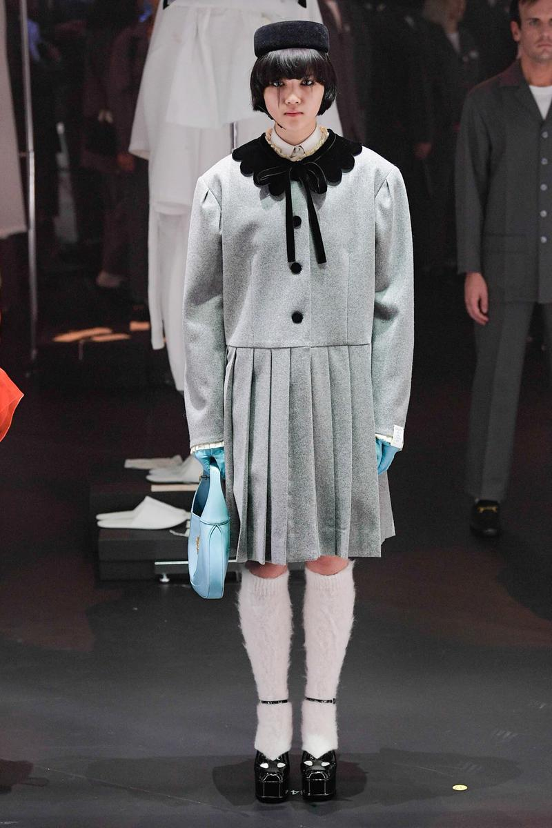 Gucci Fall/Winter 2020 Collection Runway Show Collared Pleated Dress Grey