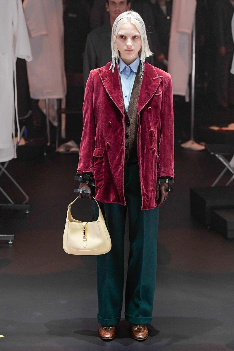 Gucci Fall/Winter 2020 Collection Runway Show Jacket Velvet Burgundy