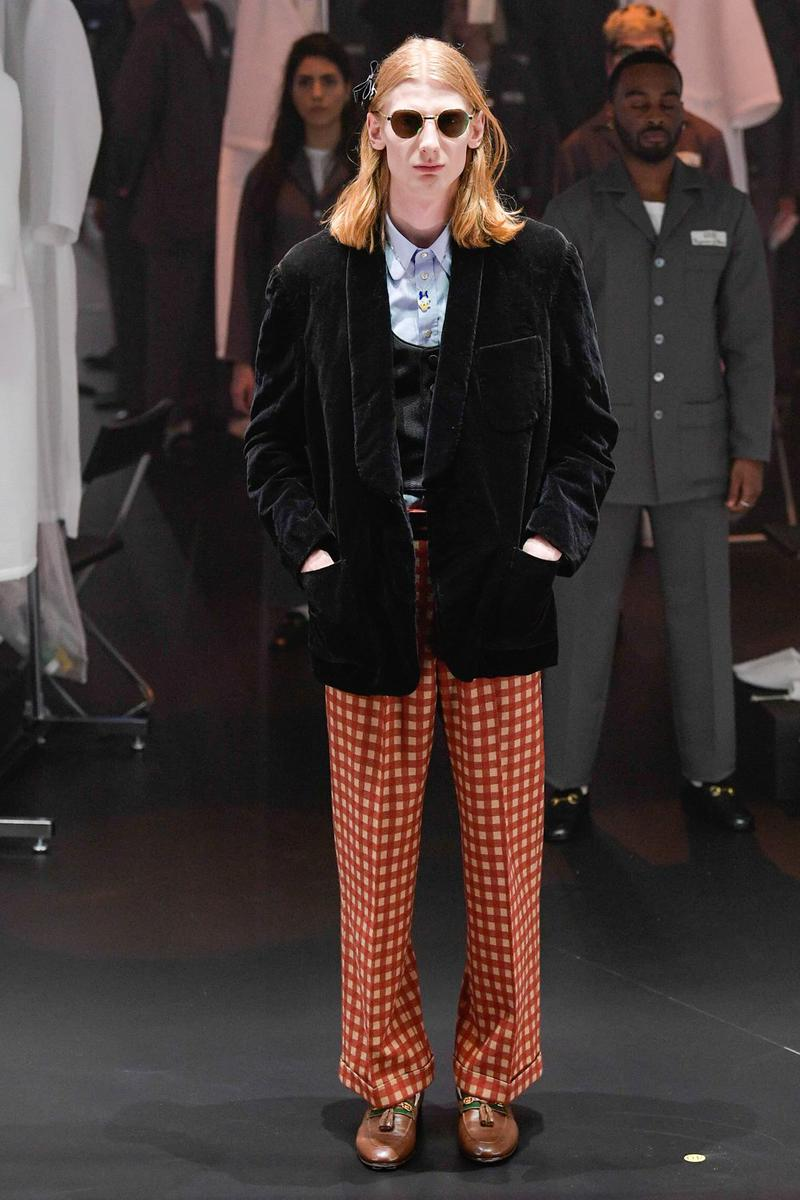 Gucci Fall/Winter 2020 Collection Runway Show Velvet Jacket Black Plaid Pants Red