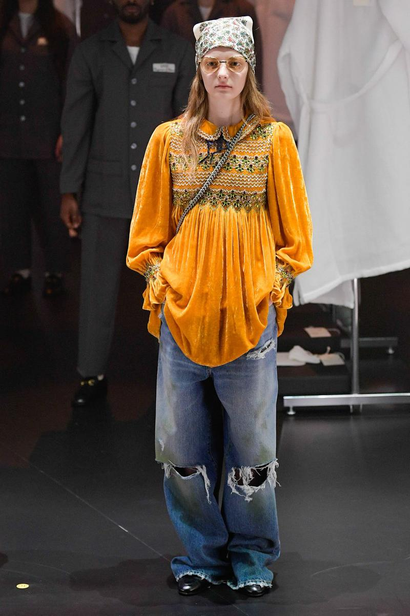 Gucci Fall/Winter 2020 Collection Runway Show Velvet Smock Blouse Orange