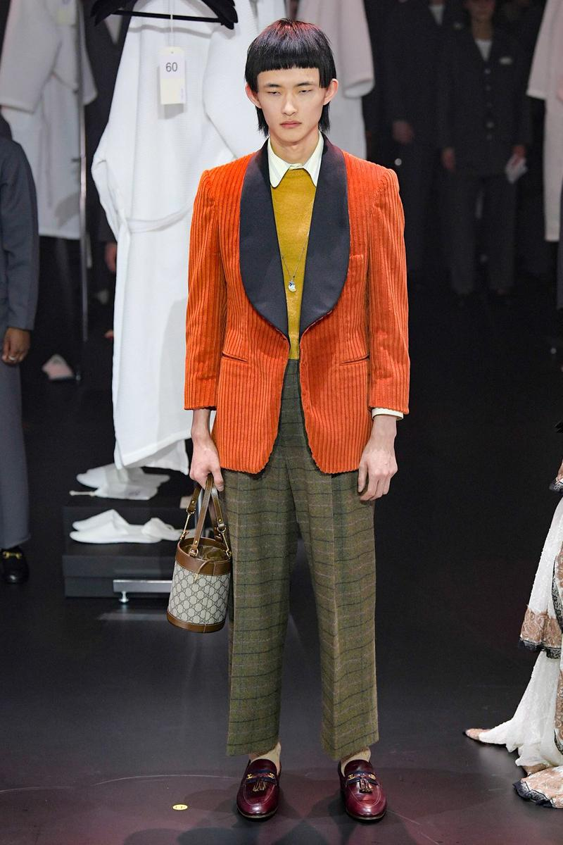 Gucci Fall/Winter 2020 Collection Runway Show Corduroy Jacket Orange