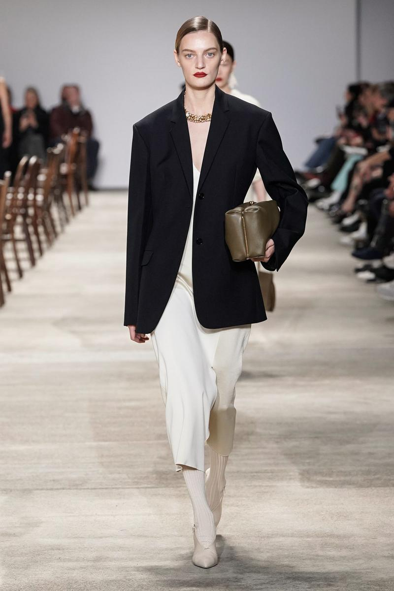 Jil Sander Fall/Winter 2020 Collection Runway Show Jacket Black Dress White
