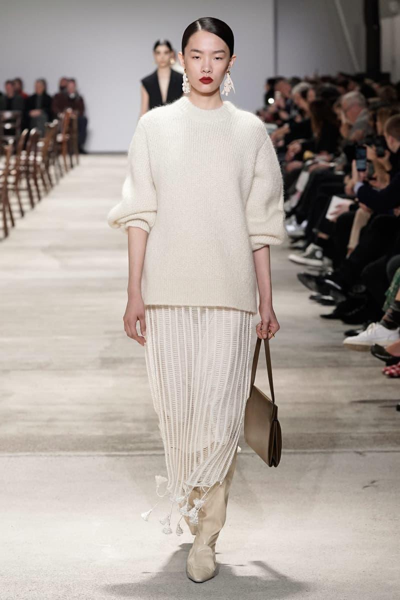 Jil Sander Fall/Winter 2020 Collection Runway Show Sweater Cream Knit Skirt White