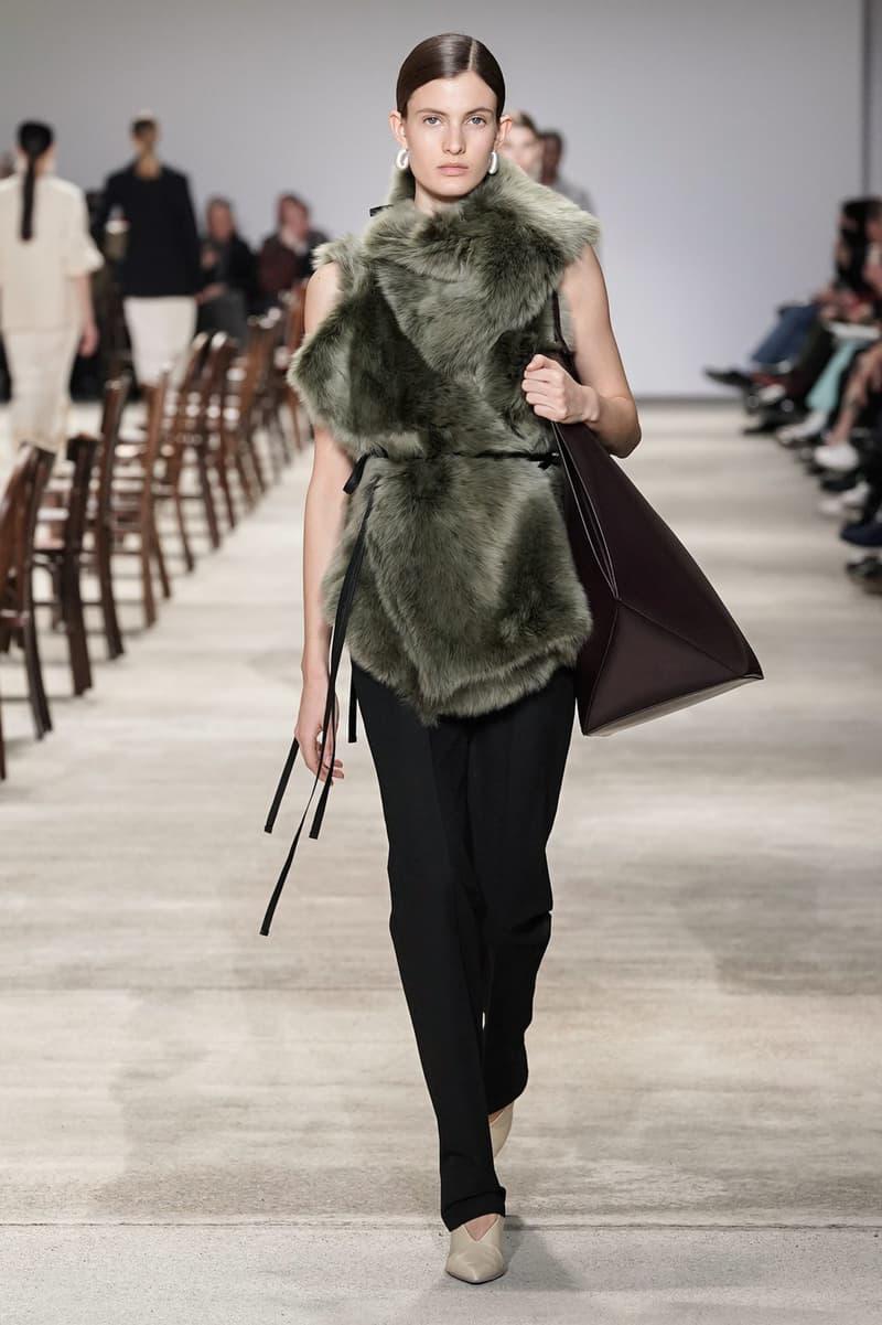 Jil Sander Fall/Winter 2020 Collection Runway Show Fur Top Pants Black