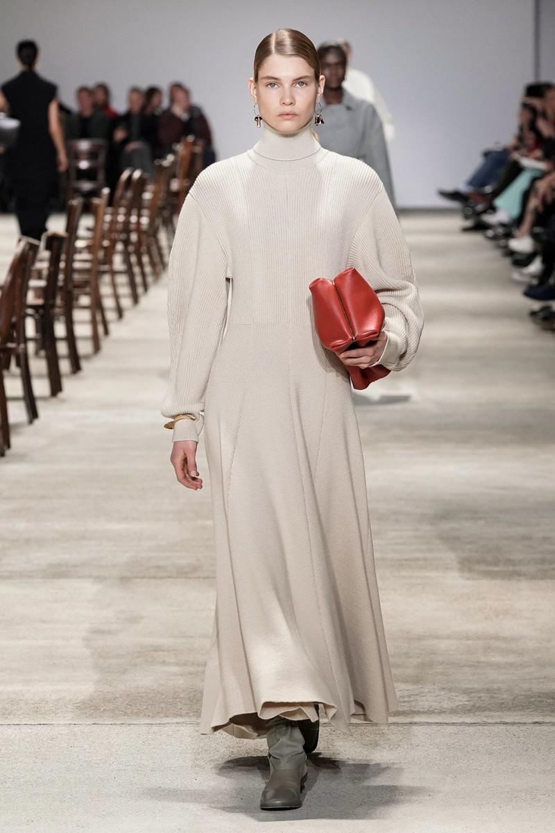 Jil Sander Fall/Winter 2020 Collection Runway Show Long Sleeve Dress Beige