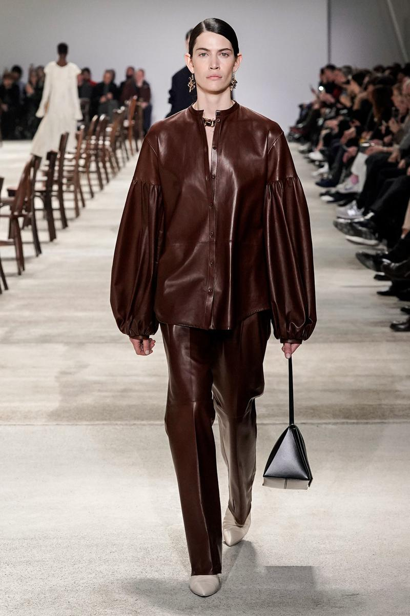 Jil Sander Fall/Winter 2020 Collection Runway Show Leather Jacket Pants Brown