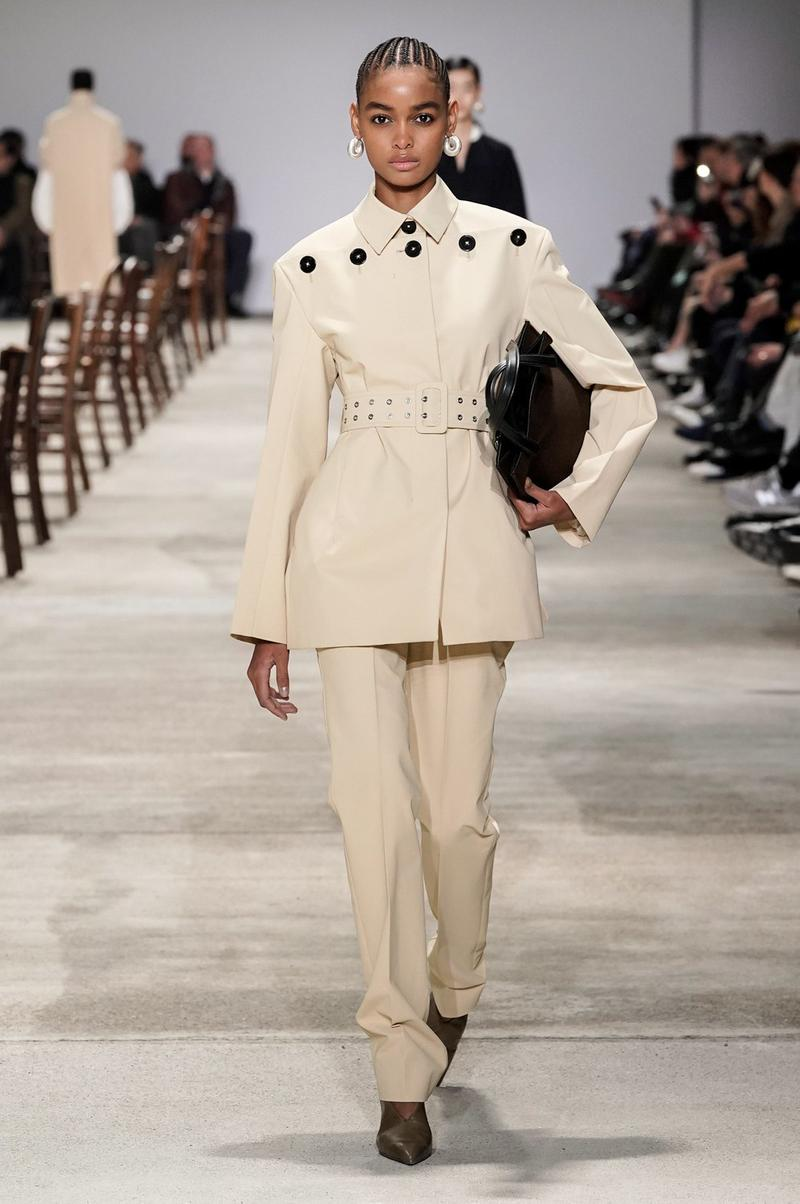 Jil Sander Fall/Winter 2020 Collection Runway Show Suit Belted Cream