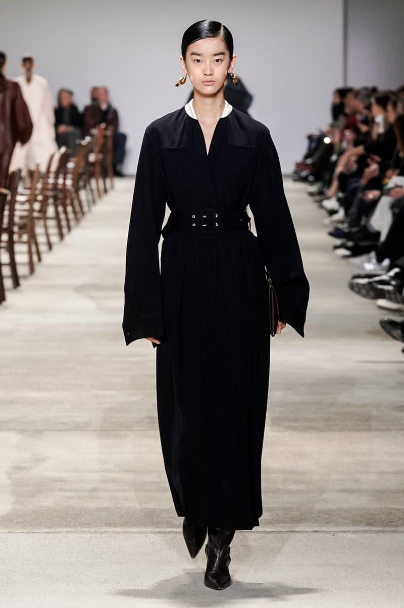 Jil Sander Fall/Winter 2020 Collection Runway Show Belted Dress Black