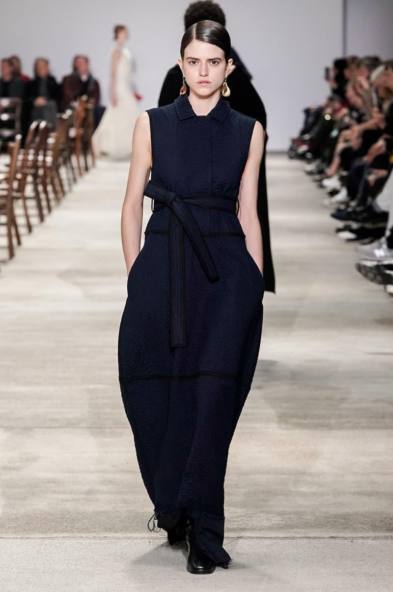 Jil Sander Fall/Winter 2020 Collection Runway Show Belted Dress Navy