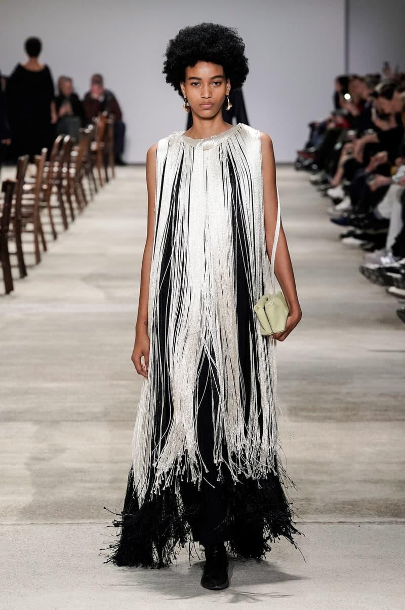Jil Sander Fall/Winter 2020 Collection Runway Show Fringe Dress White Black