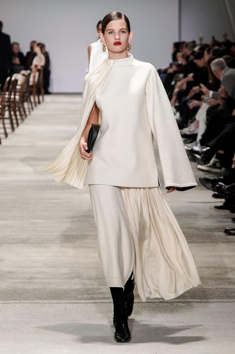 Jil Sander Fall/Winter 2020 Collection Runway Show Wool Top Skirt Cream