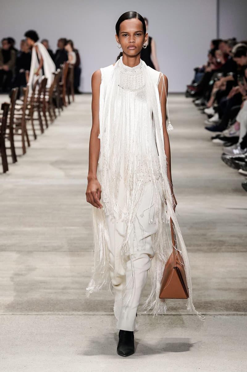 Jil Sander Fall/Winter 2020 Collection Runway Show Fringe Dress Pants White