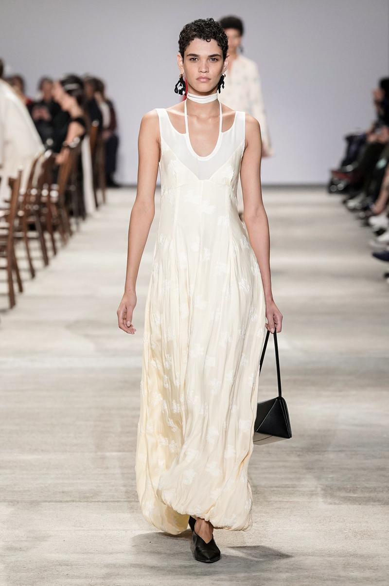 Jil Sander Fall/Winter 2020 Collection Runway Show Floral Dress White