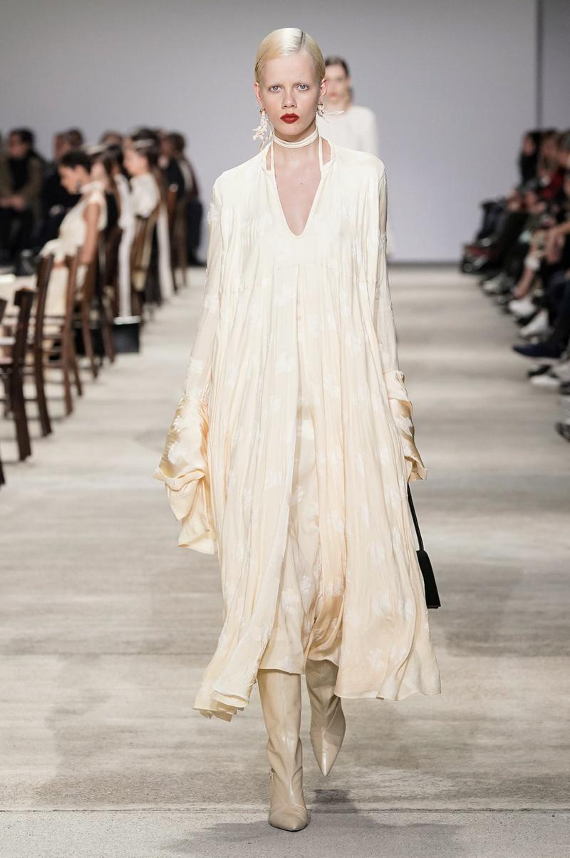 Jil Sander Fall/Winter 2020 Collection Runway Show Floral Dress Cream