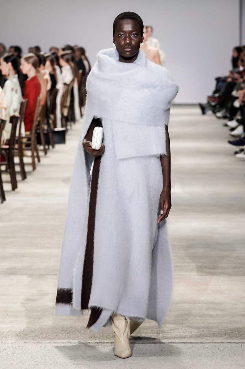 Jil Sander Fall/Winter 2020 Collection Runway Show Wool Wrap Blue