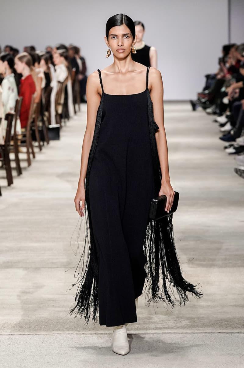 Jil Sander Fall/Winter 2020 Collection Runway Show Fringe Dress Black