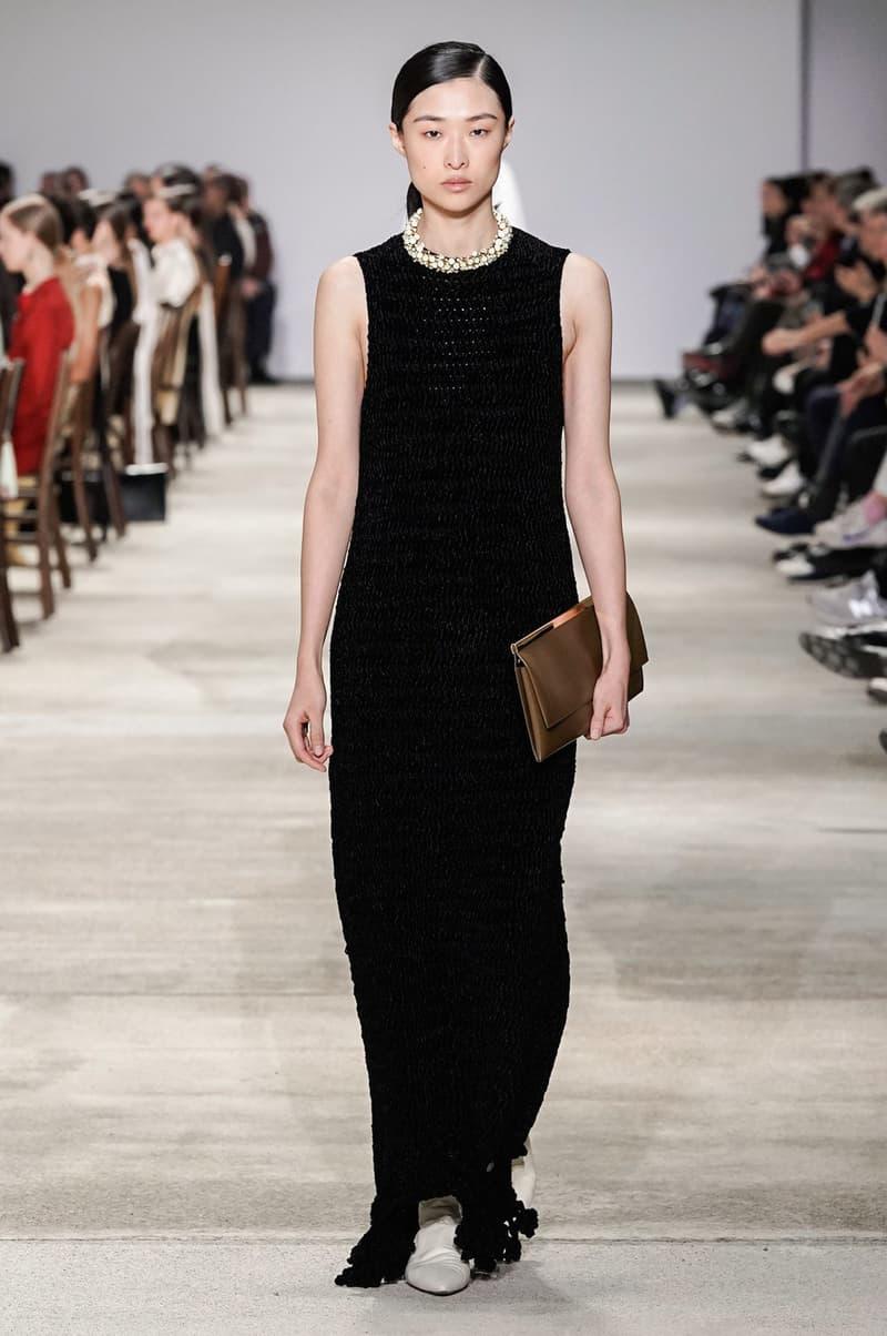 Jil Sander Fall/Winter 2020 Collection Runway Show Column Dress Black