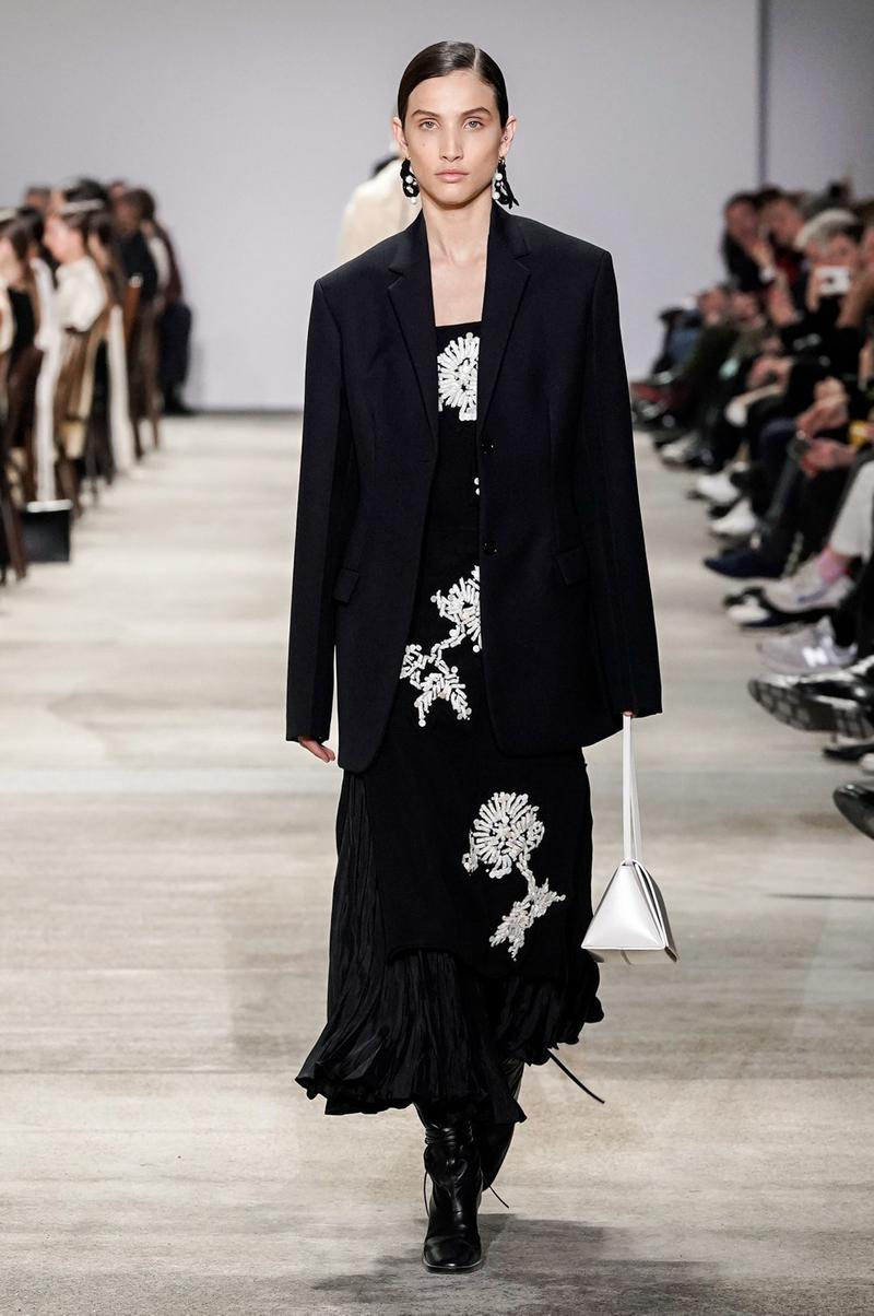 Jil Sander Fall/Winter 2020 Collection Runway Show Dress Floral Black White