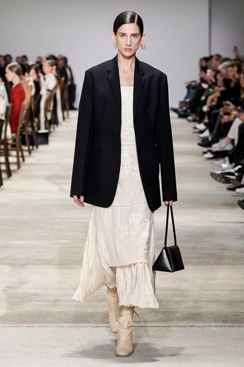Jil Sander Fall/Winter 2020 Collection Runway Show Jacket Black Dress Cream