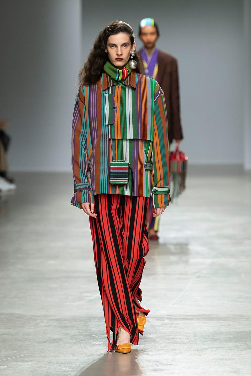 Kenneth Ize Fall/Winter 2020 Collection Runway Show Jacket Pants Stripe