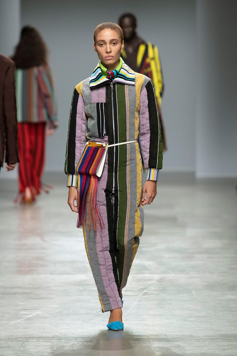 Kenneth Ize Fall/Winter 2020 Collection Runway Show Jumpsuit Stripe Quilted