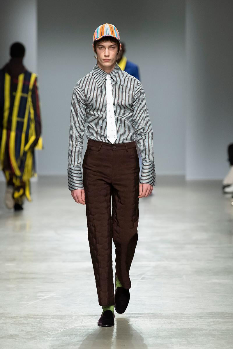 Kenneth Ize Fall/Winter 2020 Collection Runway Show Shirt Grey Pants Brown